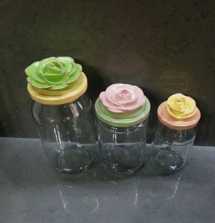 Glass Jar with painted and decorative jar lid. Limitless color options. by CULTURALSHOPPING on Etsy