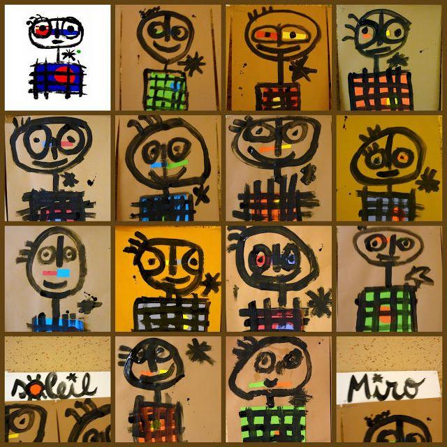 Mangeur de soleil van Joan Miró Een klas vol zonne-eters ;-)  http://www.stedelijk.nl/en/artwork/15323-mangeur-de-soleil école élémentaire d'Eschau: arts visuels