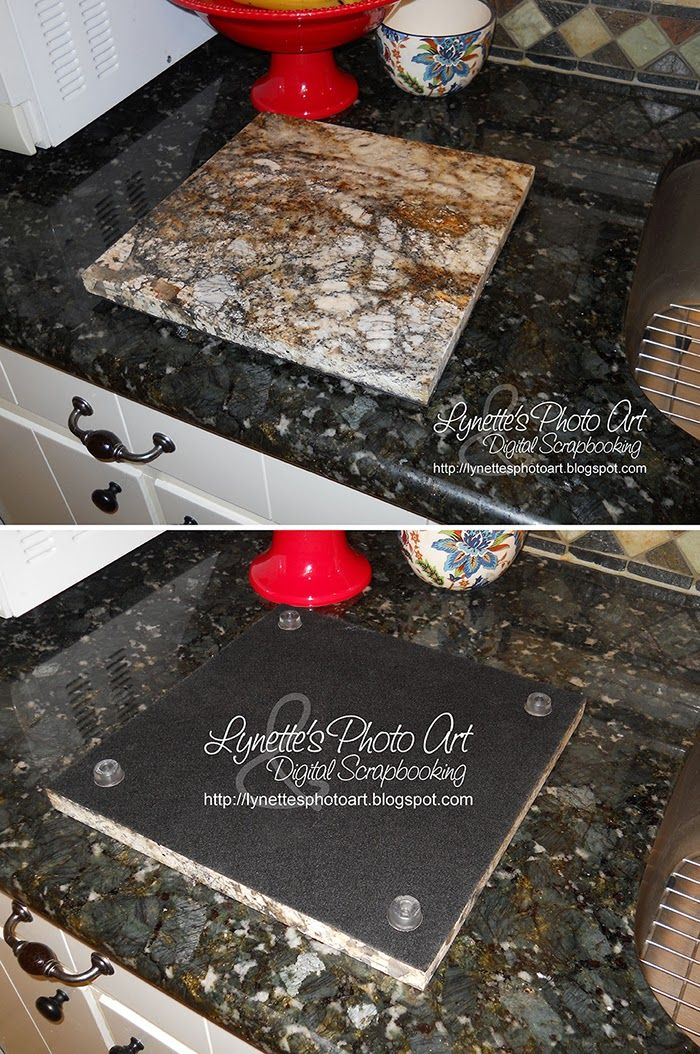 Lynette's Photo Art - Take a granite sample and cover the back with felt then cement feet to it.  Now it's a free granite cutting board that won't scratch your table!