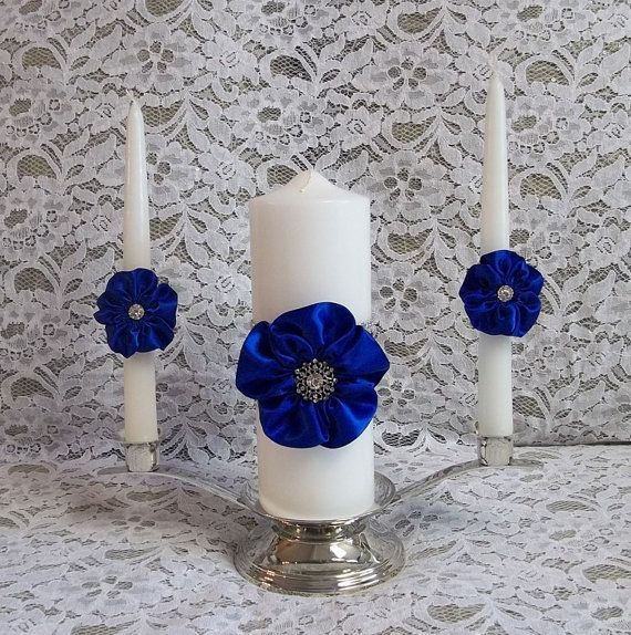 Wedding Unity Candle set with handmade 5 petal Roses and Rhinestone Mesh Trim, Candle Holder, Stand Included