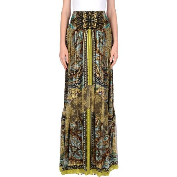 Etro Long Skirt ($1,054) ❤ liked on Polyvore featuring skirts, green, maxi skirts, long green skirt, brown skirt, brown maxi skirt and print maxi skirt
