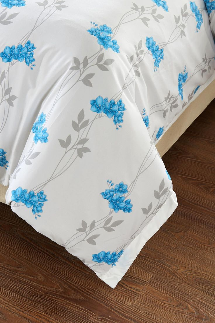 5pc Floral Blue Duvet Cover Set Style # 1025 - Cherry Hill Collection -Full / Queen
