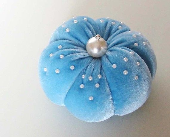 Shabby Chic Pincushion BLUEBERRY by BelleCoccinelle on Etsy