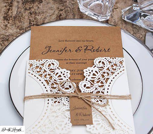 Rustikálne svadobné oznámenie - perleťová čipka