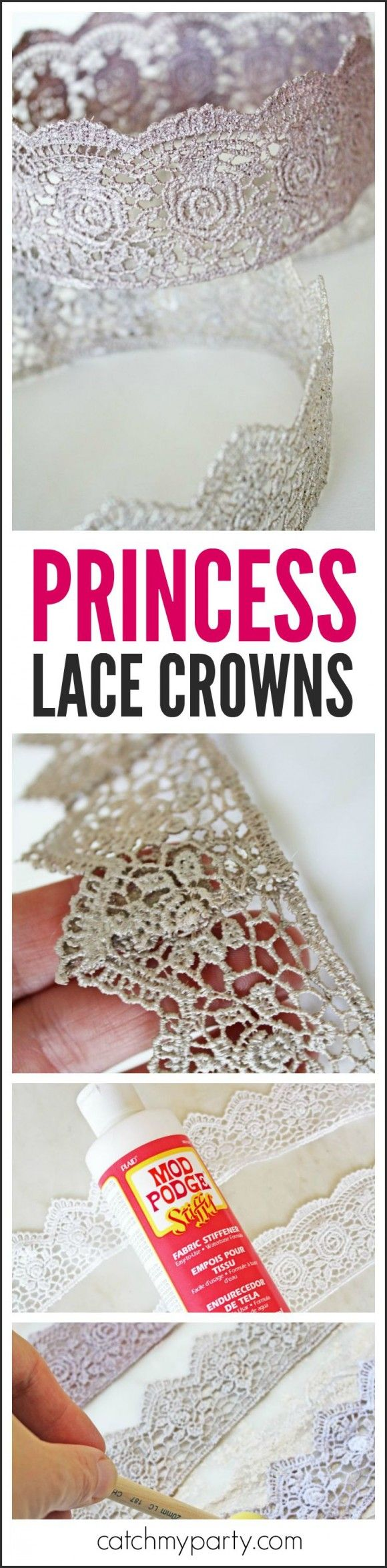 Learn to make these gorgeous princess lace crowns for your upcoming princess birthday! | CatchMyParty.com
