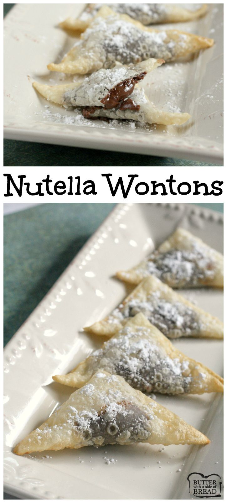 Nutella Wontons - these take just a few minutes to make & literally melt in your mouth! Delicious dessert recipe from Butter With a Side of Bread