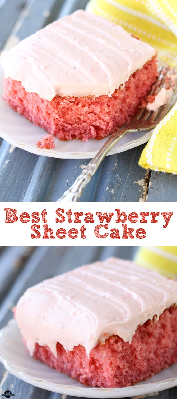 This easy sheet cake version of a delicious fresh strawberry cake with strawberry cream cheese icing is honestly my favorite strawberry cake ever!