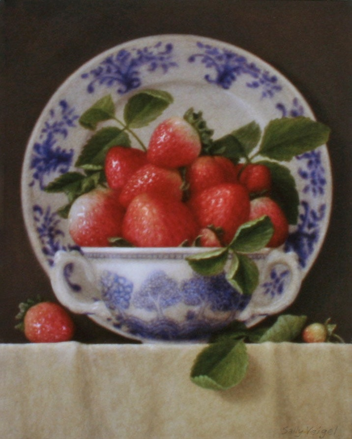 Strawberries with Blue and White China Signed by sallyveigelstudio