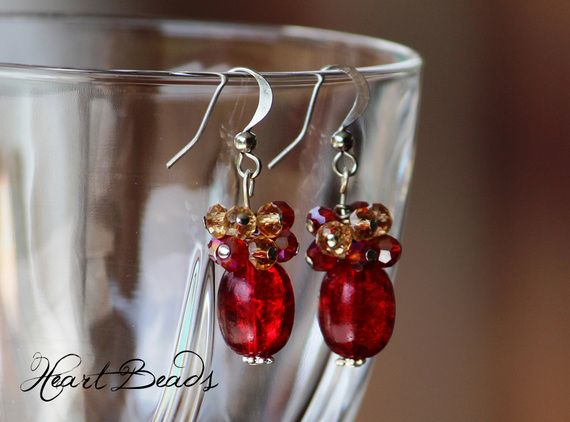 Red glass bead earrings with yellow and red crystals made by HeartBeads.