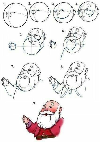 how to draw santa easy