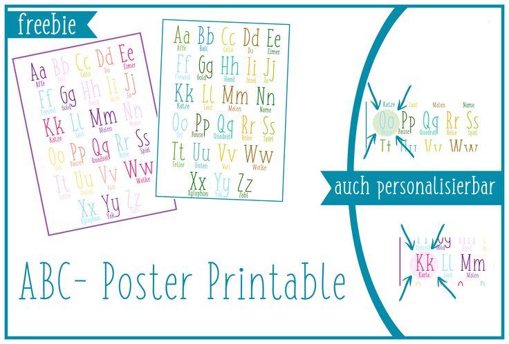 Printable, zum ausdrucken, Kinderzimmer, ABC-Poster, ABC, Alphabet, personalisierbar Freebie