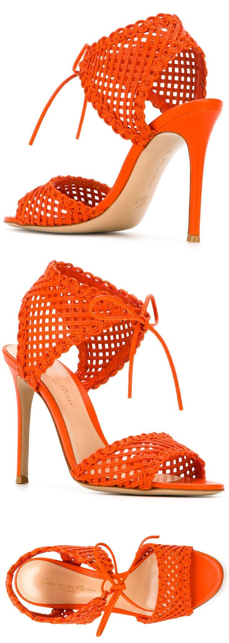 Gianvito Rossi Mandarin Orange woven tie leather sandals heels shoes. Featuring open toe, a woven design, a tie fastening, a branded insole and a high stiletto heel. Son of the legendary shoe-maker Sergio Rossi, Gianvito Rossi followed in his father's footsteps and launched his eponymous footwear label in 2006. Add Orange into your outfits with accessories. Mix well with Fuschia. #killerheels #wearorange #shoes #orange #fashion #fashionista #shoesdaytuesday #shoefetish #affiliatelink…
