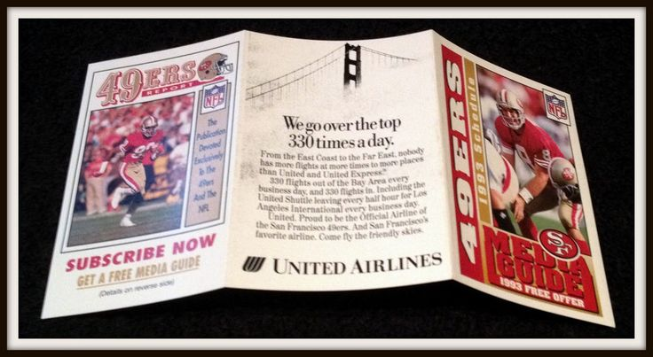 1993 SAN FRANCISCO 49ERS UNITED AIRLINES FOOTBALL POCKET SCHEDULE YOUNG ON COVER #Pocket #POCKETSCHEDULE