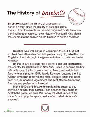 Fourth Grade History Comprehension Worksheets: History of Baseball