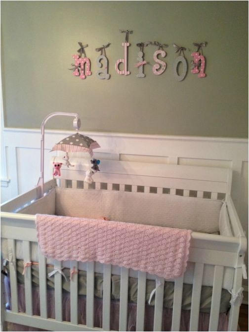 Hanging Wooden Letters Over Crib Madison Pink Gray Nursery Pinterest New Baby Products And