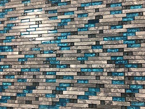 Ocean Blue Glass Nature Stone Tile Kitchen Backsplash 3d