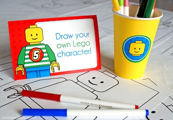 Lego party game - Draw your own lego character   Crackers Art