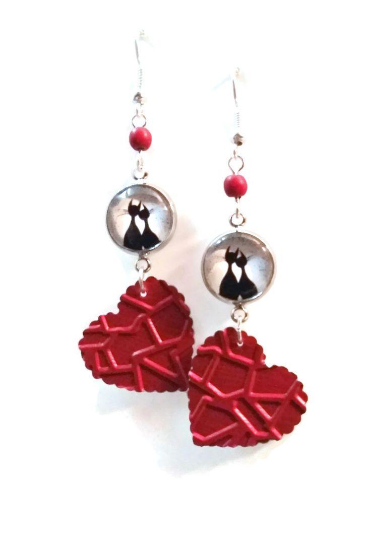 Boucles d'Oreilles Chats Amouruex Coeurs Rouges - Nespresso - Cabochon : Boucles d'oreille par cap-and-pap