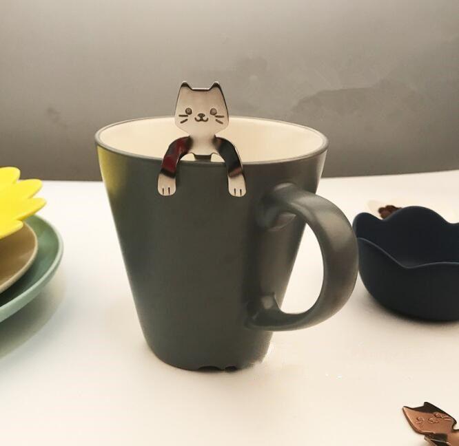 Cartoon Cat and Creative Skull Coffee Spoons #CyberMondayDeals  #Cartooncat #Coffeespoons #Bigstartrading