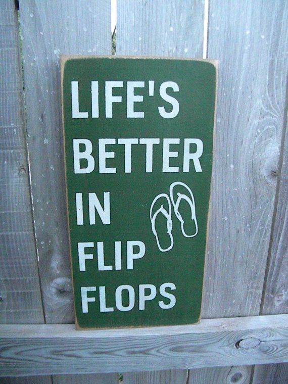 Beach Quote, Wall Art, Custom Wood Sign, Lifes Better in Flip Flops, Beach Sign, Vintage Sign, Wood Sign via Etsy