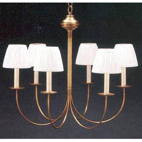 Antique Brass Six-Light J-Arm Chandelier with Shades