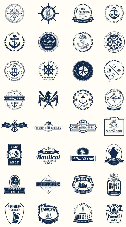 Paquete de escudos náuticos perfectos para logos