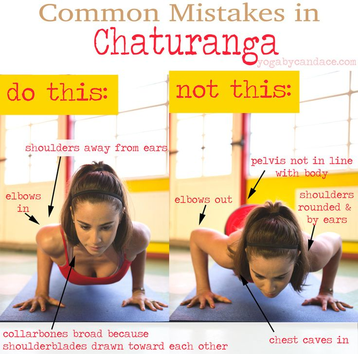 Common mistakes in chaturanga and how to fix them.  Also in Cat/Cow.  Keep the elbows pointing back to protect the shoulders.