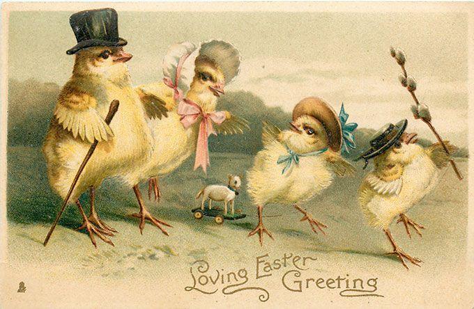 Vintage Easter images - printable Tuck postcard image - chicks in Easter parade