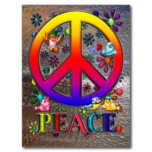 Bird Peace Sign | Modern Retro Peace Sign Text Birds & Flowers II Postcard | Zazzle