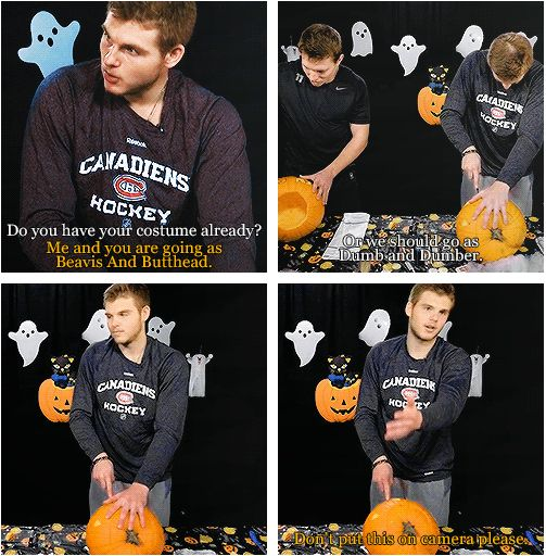 Alex Galchenyuk carving pumpkins