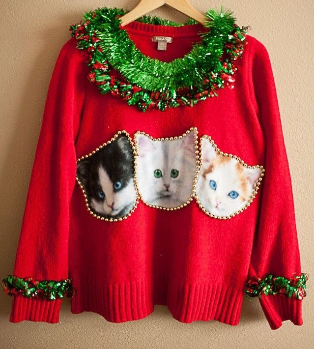 Tacky Ugly Crazy Cat Lady Christmas Sweater Kitty Lover Size Large Handmade Win in Sweaters | eBay