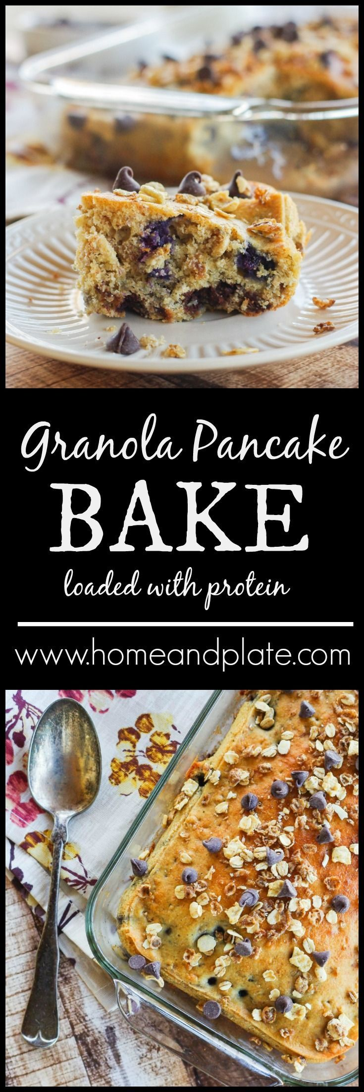 Granola Pancake Bake - Do you need to feed a crowd or a team of hungry athletes? Serve up this healthy, protein-rich granola pancake bake for breakfast! | Home and Plate