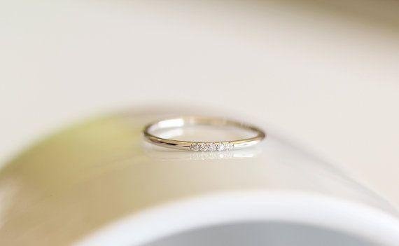 14k weiß Solid Gold Diamanten Eheringe In Micro ebnen Set, dünne Diamant…