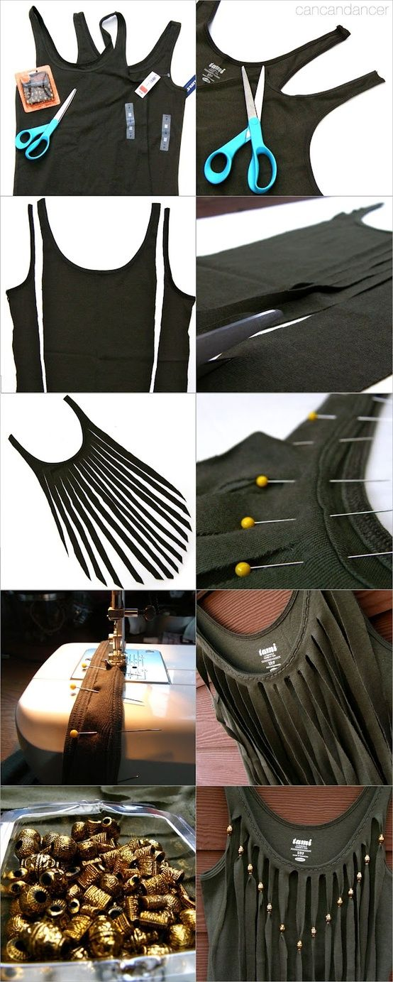 15 Minute Fringe Top - we could make our own beaded fringe for the Indian outfit!