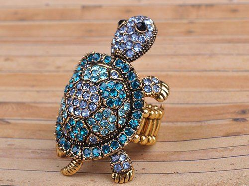 Amazon.com: Antique Gold Tone Blue Green Wiggle Baby Turtle Tortoise Crystal Rhinestone Ring: Jewelry: