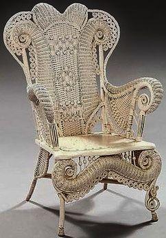 Ornate antique wicker chair