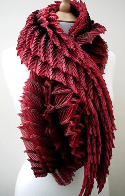 Pleated silk scarf with textured 3D pattern using Arashi Shibori fabric manipulation techniques - creative textiles; wearable art // Anne Selby
