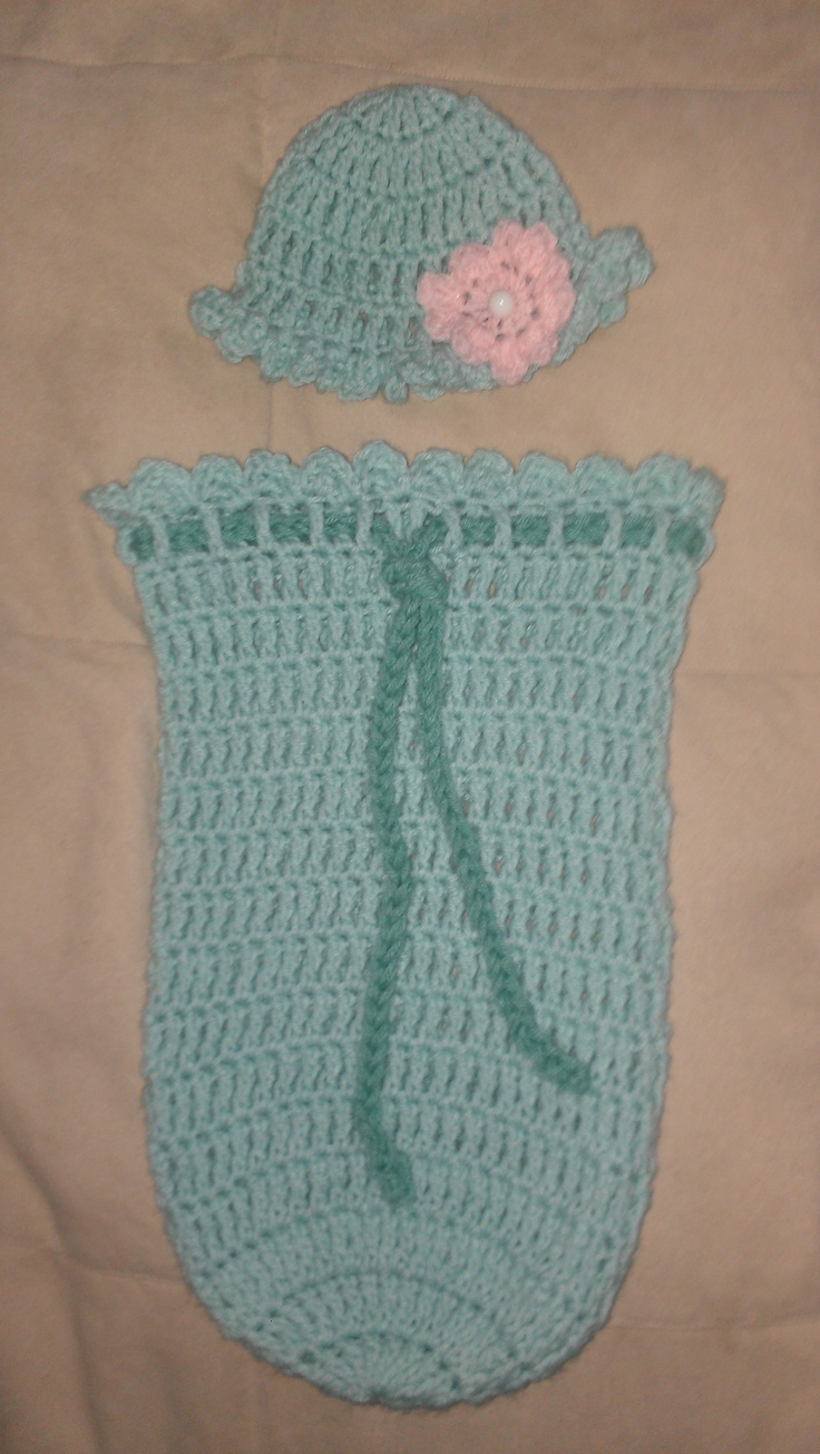 Cottage snuggle sack and hat crochet baby baby cocoon and sacks - Crocheted Baby Girl Cocoon I Used The Pattern Newborn