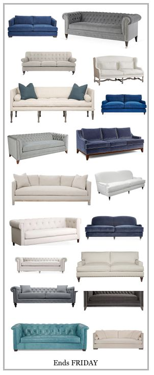 LOVE!!!! Linen, leather and velvet sofas. My next sofa will be one of these