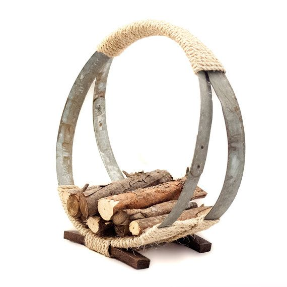 The Barrel Hoop Firewood Rack by OFloinnDecor on Etsy