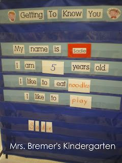 Mrs. Bremer's Kindergarten: beginning of school year - Getting to Know You - make your own class book to take home Pick one student per day and interview them. Then their name is cut apart and a friend gets to put it together. Everyone draws a picture of the student of the day and thinks of descriptive words