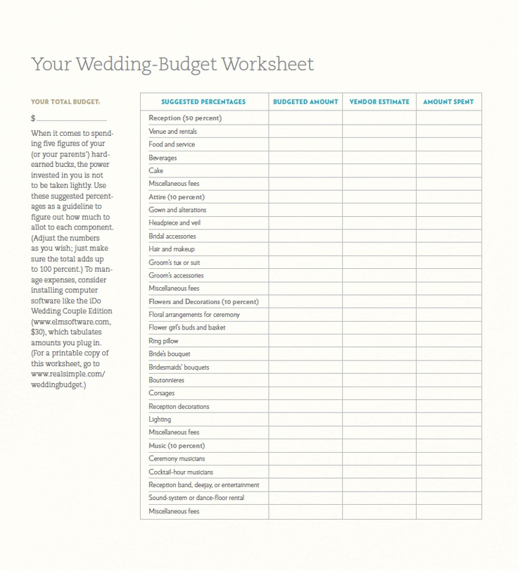 Wedding Budget Worksheet Printable: Wedding Budget Worksheet By Real Simple. Click Here To