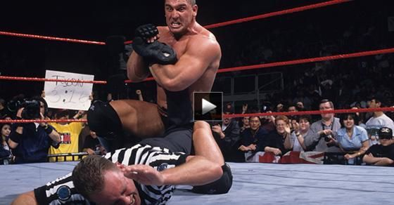 Watch professional MMA fighters like Ken Shamrock, Dan Severn and Brock Lensar battle in WWE rings.