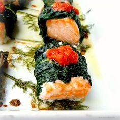 Salmon Wrapped in Kale Leaves with Harissa