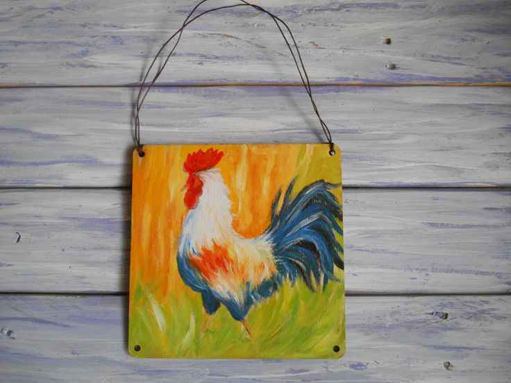 Rooster art Handpainted wood Country kitchen ideas Handmade wood decor Rustic Christmas decor Kitchen wall art Farmhouse New home gift by MilaPollyart on Etsy