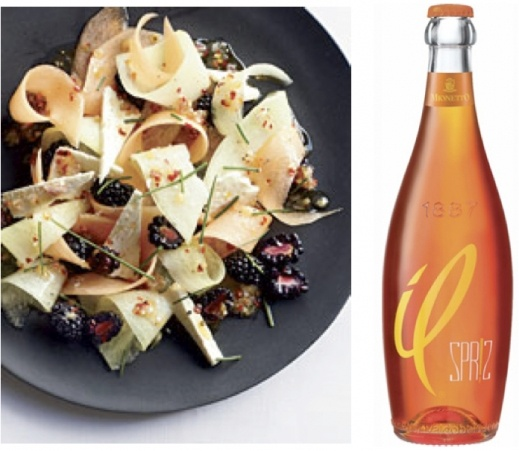 The Friday Find: Salad and Spr!z.The salad is a refreshing twist on the standard melon-prosciutto, jazzed up with a dash of lemon, red pepper, and chives. And to be honest, the Mionetto Il Spriz sounds genius – a bottled version of the Spritz coctail from Venice, prosseco with a hint of citrus and herbs. This one comes with Food & Wine's seal of approval. Happy weekending lovelies!