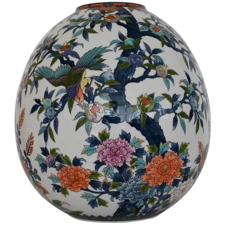 Large Japanese Ovoid  Hand-Painted Porcelain Vase by Master Artist | 1stdibs.com