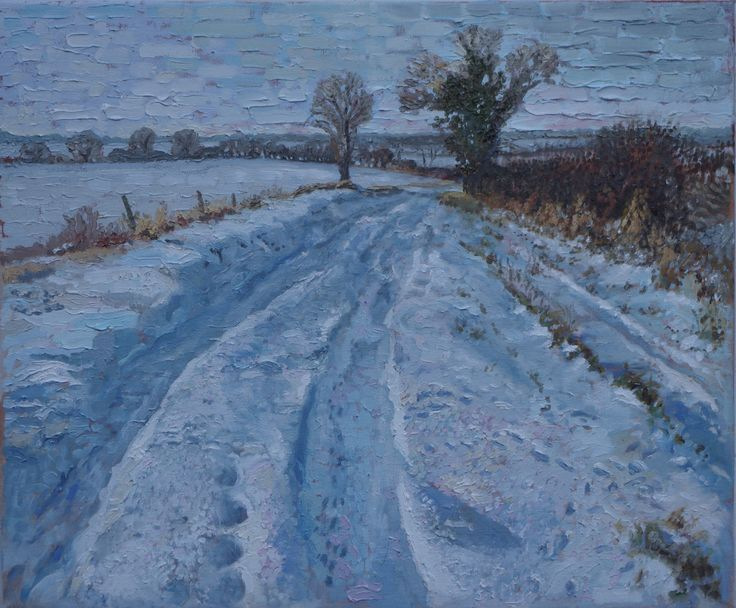 Winter Holme Wood Lane - Oil Painting by Tom Wormell