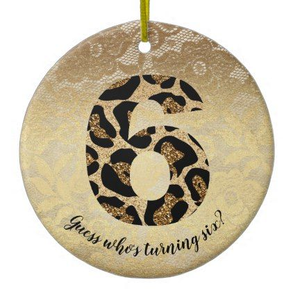 Number Six Leopard Glitter Glam Birthday Girl Ceramic Ornament - glam gifts unique diy special glamour
