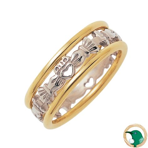 Our ladies Two-tone gold Modern Celtic Claddagh ring shown here in 18ct yellow and white gold